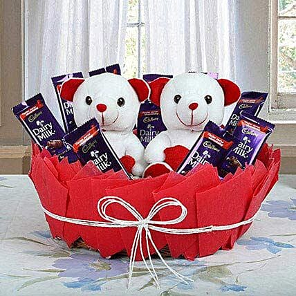 Chocolatey Basket of Teddy Bears: Gifts for Daughters Day