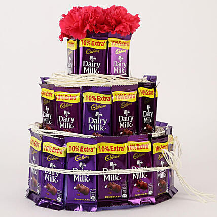 Dairy Milk & Carnations- 3 Tier Arrangement: Cadbury Chocolates