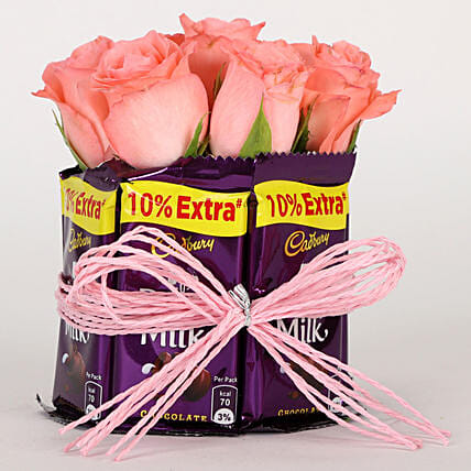 Dairy Milk & Pink Roses Arrangement: