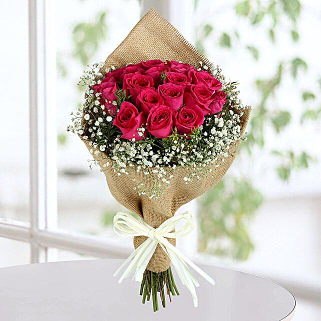 Dark Pink Roses Bunch: Send Roses