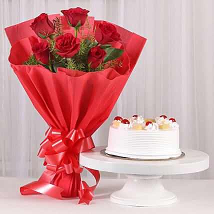 Red Roses Pineapple Cake Combo Flowers Combos