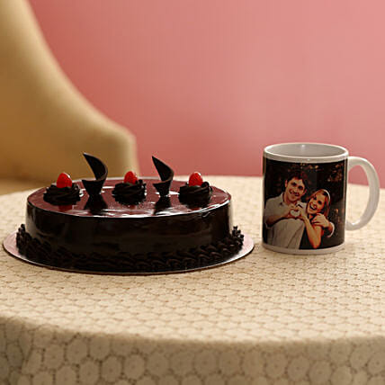 Delish Truffle Cake With Picture Mug: Personalised Gifts Combos