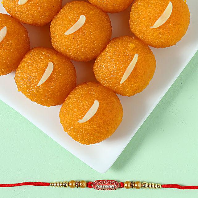 Designer Ethnic Rakhi & Moti Choor Laddu: Raksha Bandhan Sweets