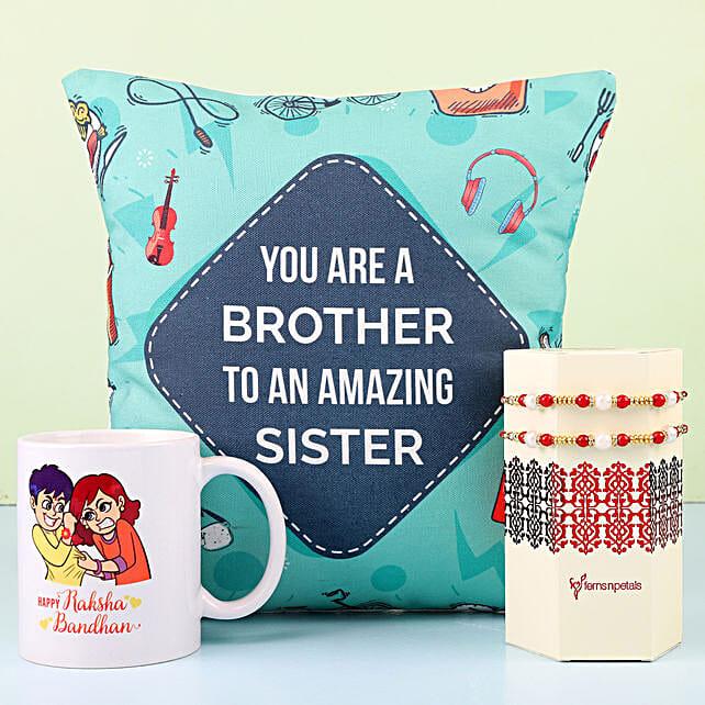 Designer Rakhi With Mug & Cushion For Bro: Rakhi Combos