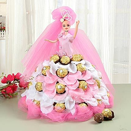 Pink Doll With Ferrero Rocher Chocolates: Kids Toys & Games