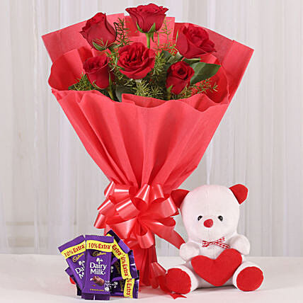 Rosy Love Affair- Teddy Bear & Chocolates: Cadbury Chocolates