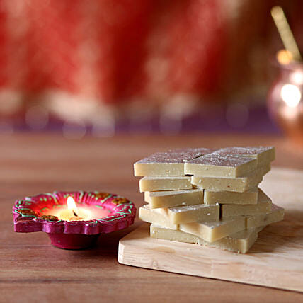 Diwali Celebrations With Kaju Katli: Diyas