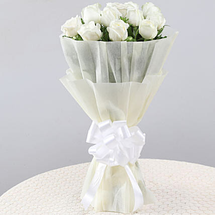 Elegant Pristine White Roses Bouquet: Gifts to India