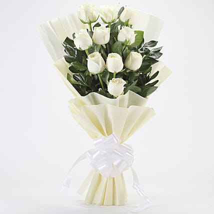 Elegant White Roses Bouquet: Gifts to India