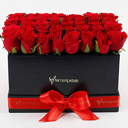 Ravishing 40 Red Roses Box Arrangement: Fresh Flower Arrangement