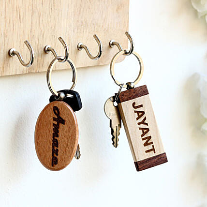 Engraved Personalised Contrast Key Chains Set of 2: Personalised Engraved