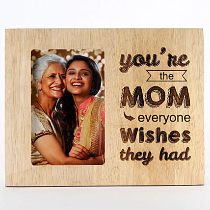 Engraved Wooden Photo Frame For Mom: Personalised Engraved