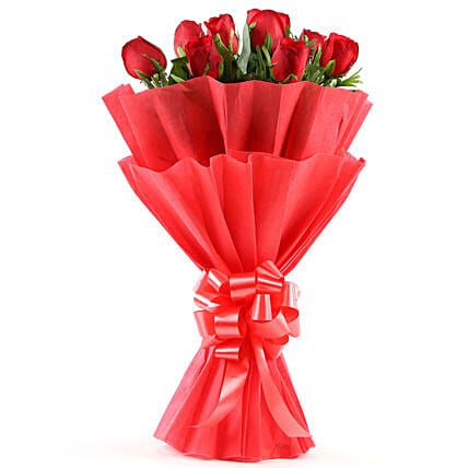 Enigmatic Red Roses Bouquet Birthday Flowers