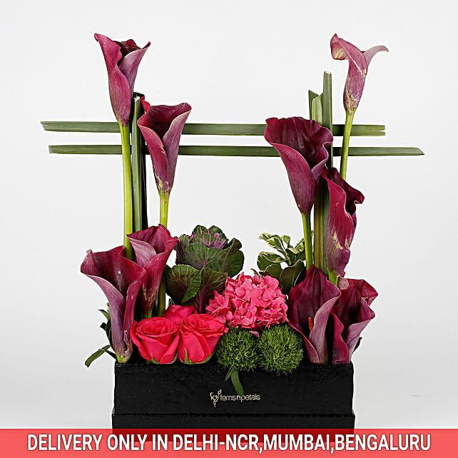Exotic Arrangement of Purple Calla Lilies: