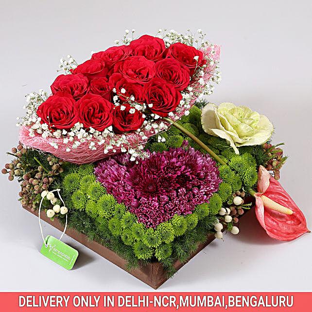 Exotic Flowers Tray Arrangement: Send Anthuriums