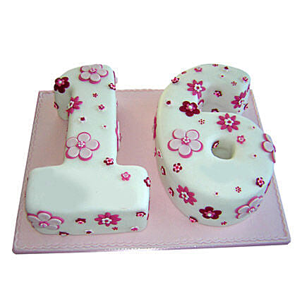 Floral Sweet Sixteen Cake: Alphabet N Number Cakes