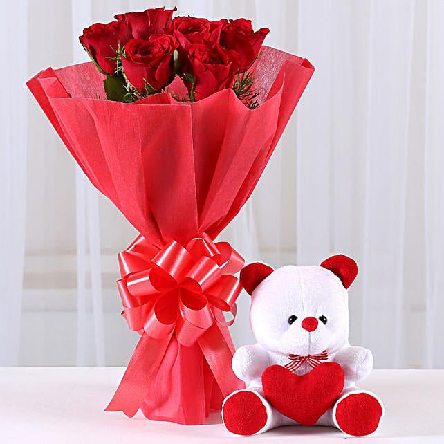 Red Roses Bouquet & Teddy Bear Combo: Flower N Teddy