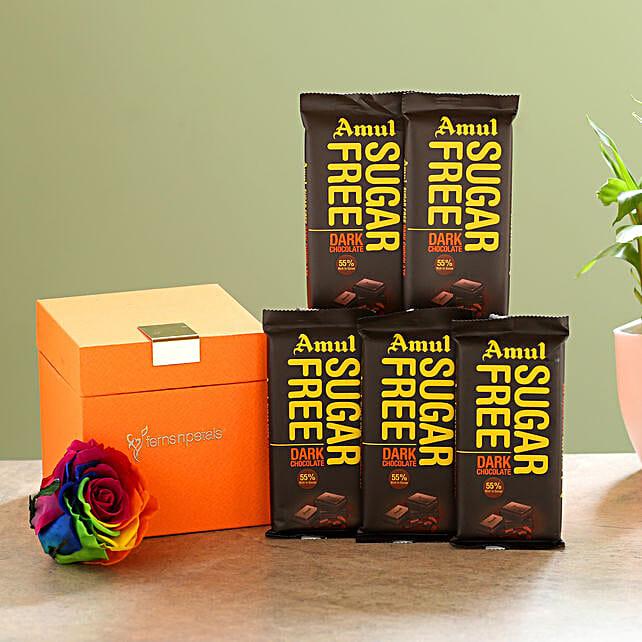 Forever Rainbow Rose & Sugar Free Amul Chocolates: Gift Combos