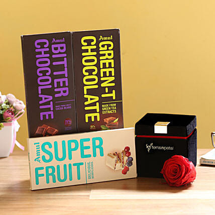 Forever Red Rose & Special Amul Chocolates: Flower Combos