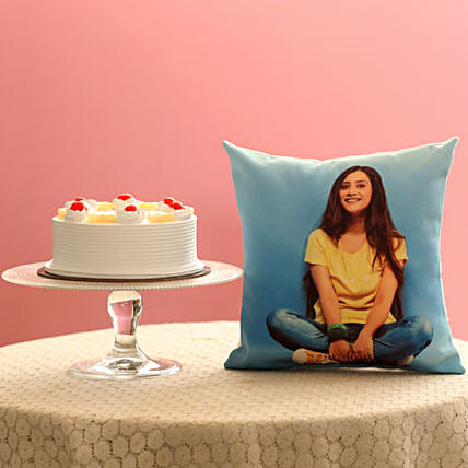 Fresh Pineapple Cake & Personalised Cushion Combo: Personalised Gifts Combos
