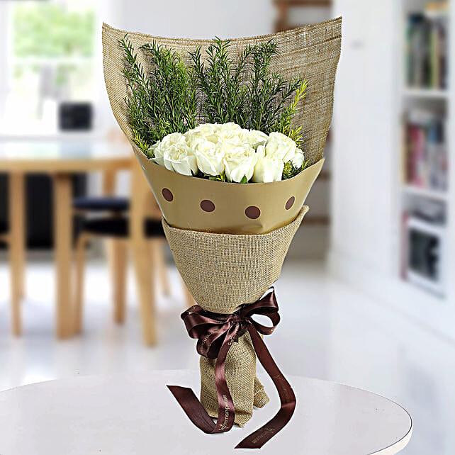 Fresh White Roses Bunch: