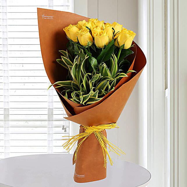 Fresh Yellow Roses Bunch: