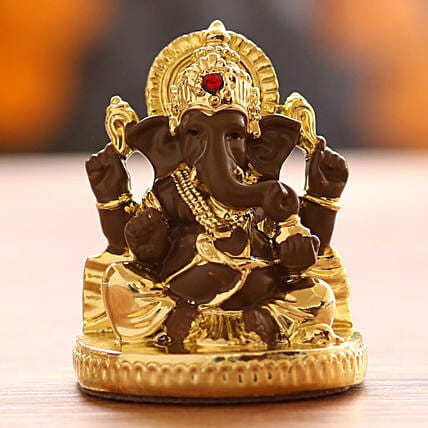 Gold Plated Ganesha Idol- Brown: Gift Ideas