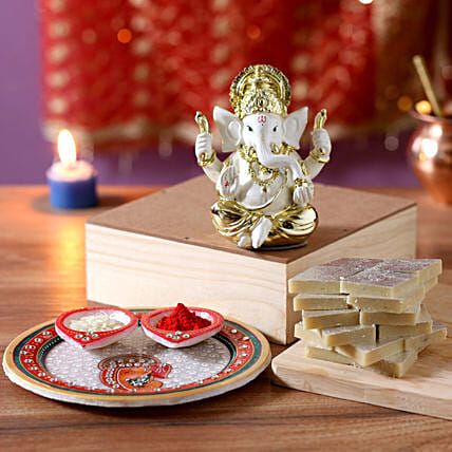 Gold Plated Ganesha Idol Diwali Hamper: Pooja Thali