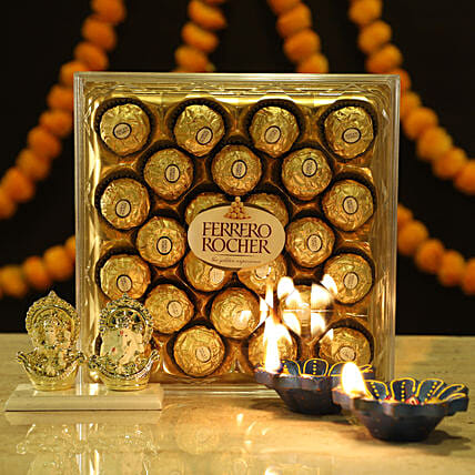 Gold Plated Laxmi Ganesha & Ferrero Rocher: Chocolate Gifts in India