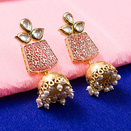 Gold Plated Red Dome Jhumkas: Jewellery Gifts