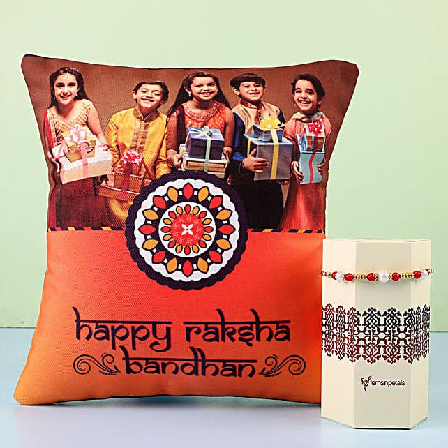 Gold Thread Rakhi & Personalised Cushion Combo
