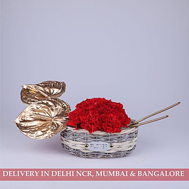 Golden Anthuriums & Red Carnations Basket: Carnations