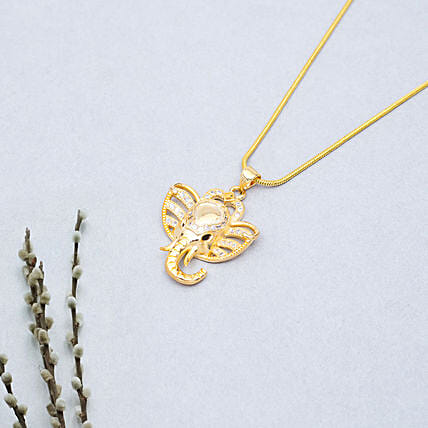 Golden Peacock Ganesha Shaped Pendant: Gold Plated Gifts