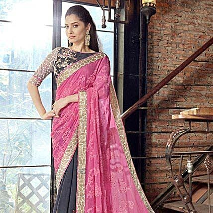 Grey Georgette Saree: