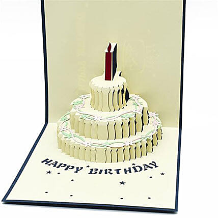 Handmade 3D Pop Up Semi Open Birthday Cake Greeting Card: Funny Gifts