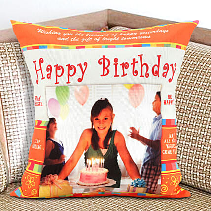 Happy Bday Personalized Cushion: Gift Delivery in Mahe