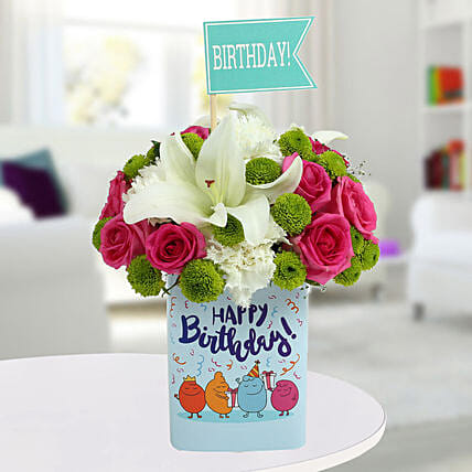 Happy Birthday Mixed Flowers Arrangement: Carnations