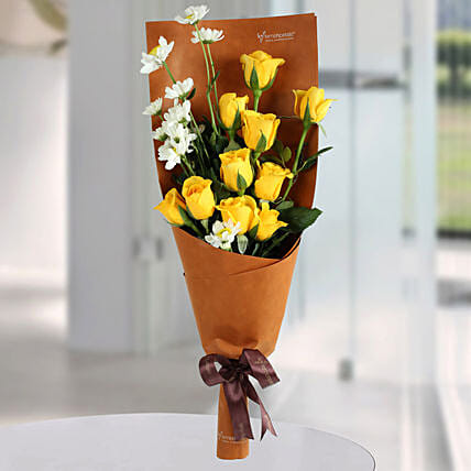Happy Yellow Roses Bunch: