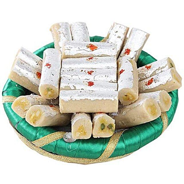 Kaju Rolls In Green Tray: Teej Gifts