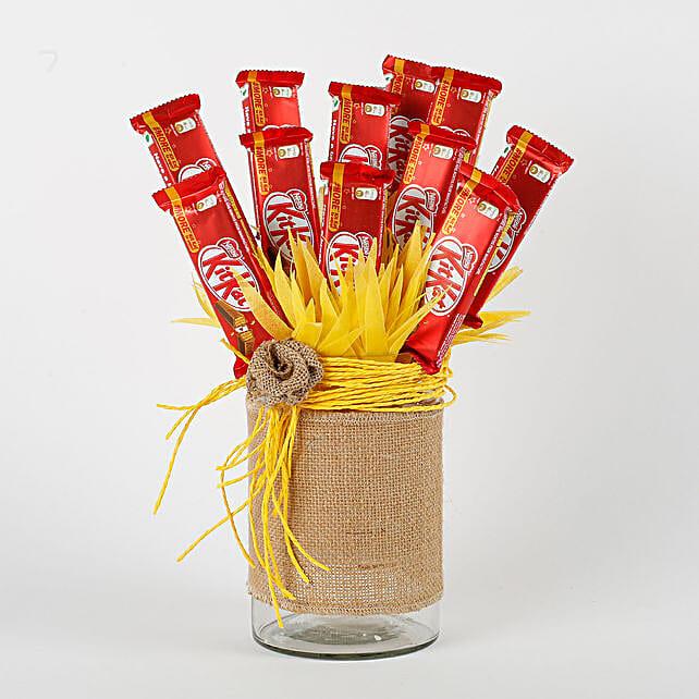 Kit Kat Chocolates Vase Arrangement: Diwali Chocolates