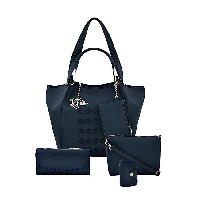 LaFille Casual Blue Handbag Set: Handbag Gifts