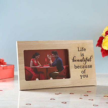 Life is Beautiful Engraved Wooden Frame: Photo Frames