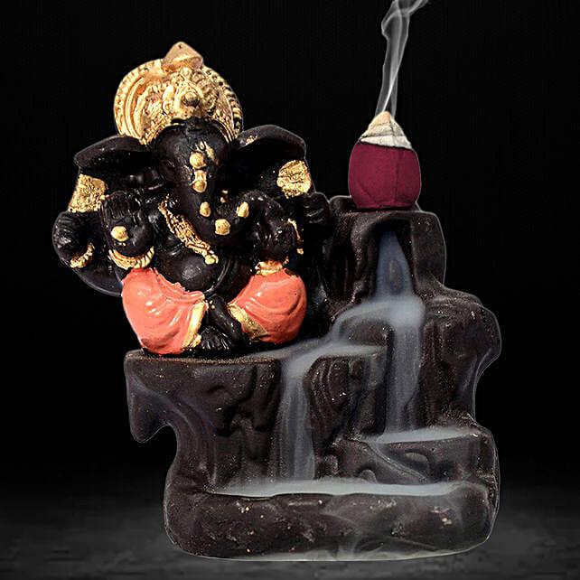 Lord Ganesha Incense Burner- Orange: Home Decor