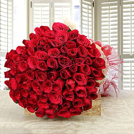 Enchanting Love- Classy 75 Red Roses Bunch: Premium Flowers For Valentine's Day