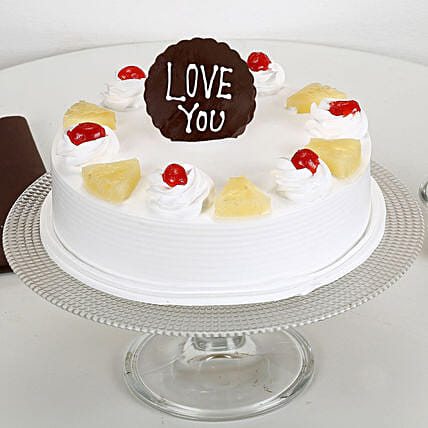 Love You Valentine Pineapple Cake: Buy Eggless Cakes