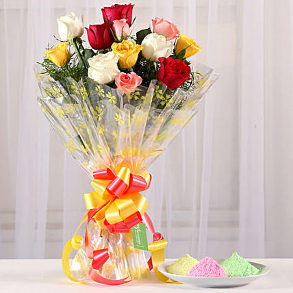 Mixed Roses Bouquet With Gulal Combo: Send Holi Colours