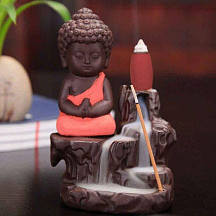 Monk Buddha Incense Burner- Imperial Red: Home Decor