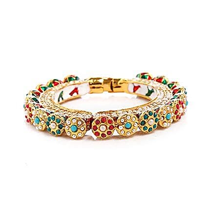 Multicolor Kundan Bangle: Send Jewellery Gifts
