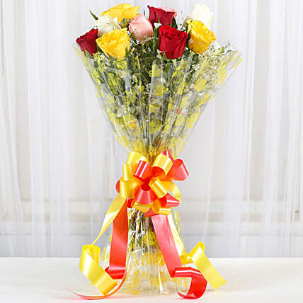 Magical Multicolored Roses Bouquet: Aunt & Uncle's Day Gifts