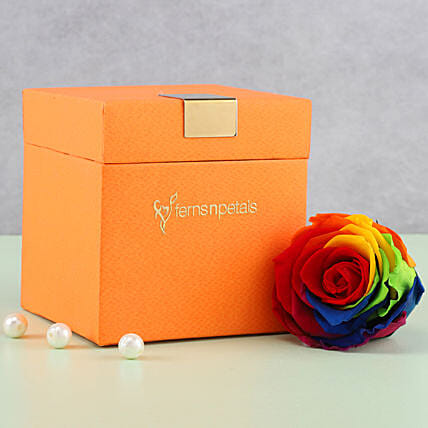 Mystic- Forever Rainbow Rose in Orange Box: Forever Roses
